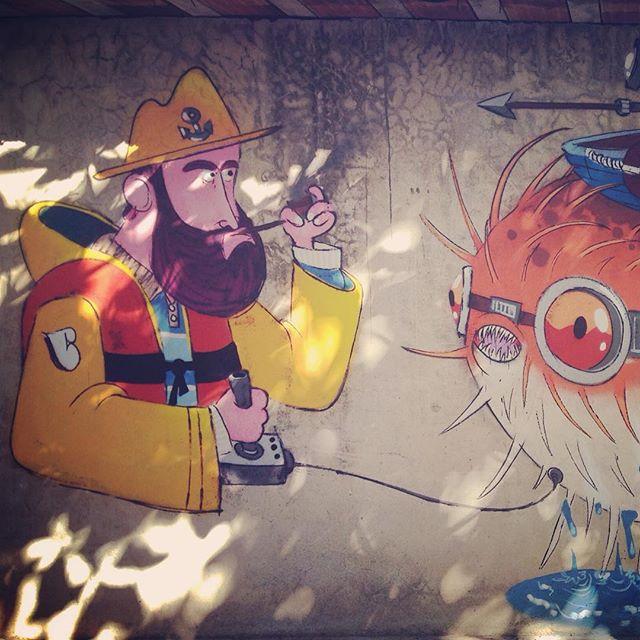 Close no #barbudinho #sketchwall #streetartrio #streetart #pescador #fishman #blowfish #fish