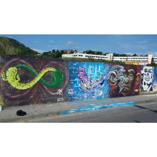 Mural de hoje com os amigos no itaipu multicenter #riscocrew #graffiti #streetart #niteroi #streetartrio #itaipu #rj #021