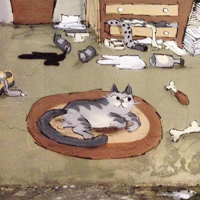 #instacat #cat #gato #ilovecat #fatcat #streetart #streetartrio #animals