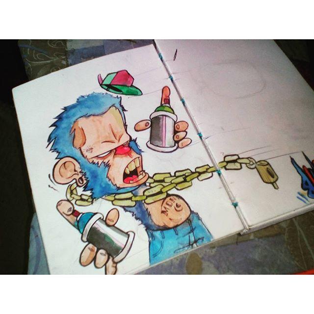 E hj acordei assim! Risco rápido e pintura rápida com aquarela só p encaixar as cores! #felipeblunt #streetart #streetartrio #graffitiart #graffiti #graffitiink #instagraffiti #bomdia