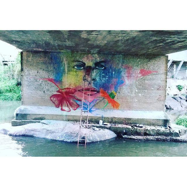 Tarde de chuva dentro do rio Macacu!!! Primeira missão de 2016!!!! #marcelomeloarteurbana #freestyle #graffitiart #streetstyle #graffit #mulher #flores #floral #canalrisco #contrastes #mtncolors #coresnaturais #rio #corrente #streetstyle #streetartrio