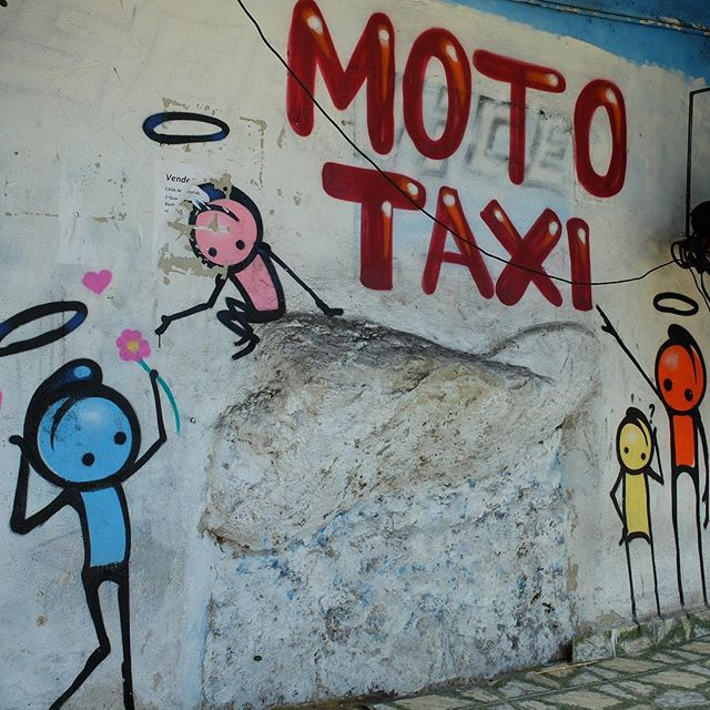 Mural by @WarkRocinha in Vidigal in Rio de Janeiro, Brazil. At a moto taxi stand!