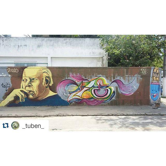 RAVI + AZE, e no canto os amigos da @trapa_crew #graffiti #streetbombing #wildstyle #fatcap #streetartrio #streetphotography #riscocrew #niteroi
