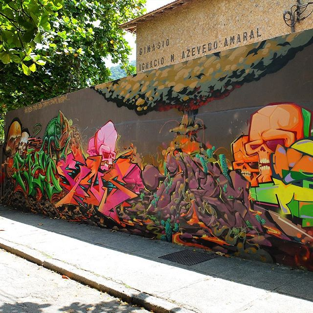 Detail of a mural by @Afa1987 and @ArtedoRizo and @MarceloJou and @BrFBC and @Tarm1 and @MarcioSWK and @Vejam_ near Jardim Botânico in Rio de Janeiro, Brazil. Awesome!