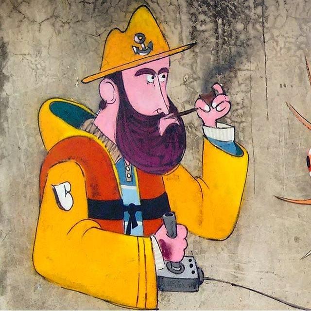 Gosto muito desse. Vou voltar a fazer uns com características diferentes, pirata é um tema que me amarro! Heheh #coloniadepescadores #niteroi #streetart #streetartrio #streetartnews