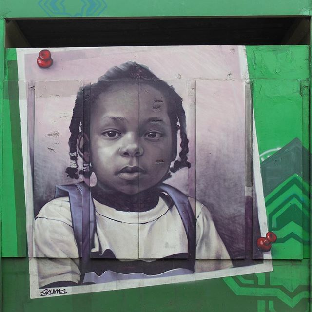Mural by @AkumaSantos for @Metro_Rio in Inhaúma in Rio de Janeiro, Brazil. Beautiful portrait of a child at a local school!