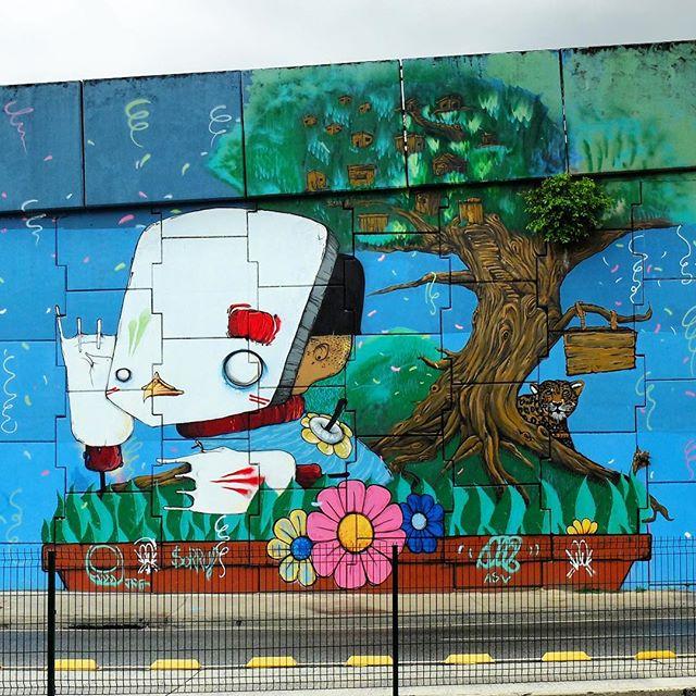 Mural by @MarcioBunys and @FaelTujaviu for @Metro_Rio in Vicente de Carvalho in Rio de Janeiro, Brazil. Interesting!