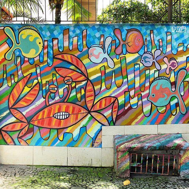 Mural by @MarcioPXE in Ipanema in Rio de Janeiro, Brazil. Colorful!