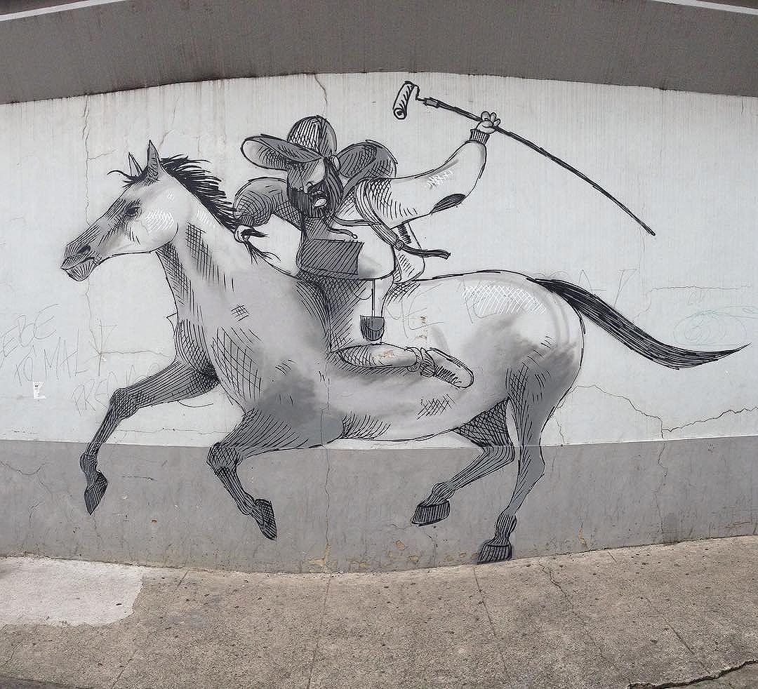 Bom dihaaaaaaaa!!! #pedepano #cavalinho #horse #cidade #sketchwall #sketch #charactergraffiti #cazesawaya #streetartrio #streetartnews #streetart