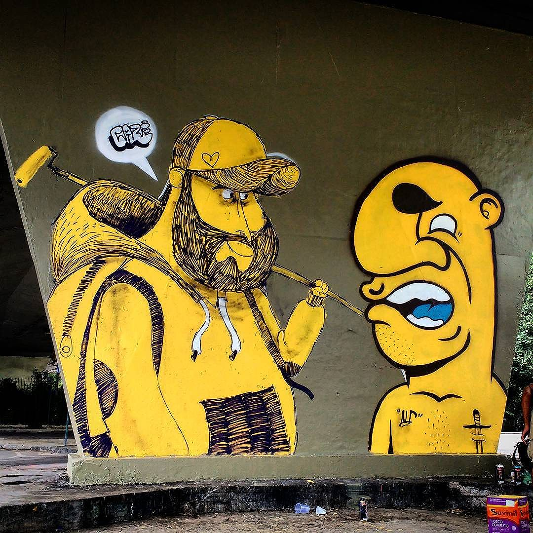 Gigantes de Botafogo... #alf #bignose #caze #streetart #graffiti #urbanart #streetartrio #graffitiart #spraypaint #sprayart #cathafire #explosion #salvedocaze #giants
