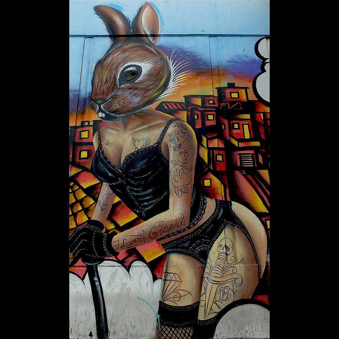 Mural by @AlexJet34 for @Metro_Rio in São Cristóvão in Rio de Janeiro, Brazil. Hot bunny!