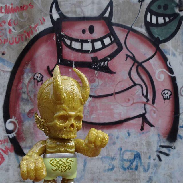 Devils congregate! #rafocastro #streetartrio #graffitiart #skullhevi #hydrodevil #hyperstoic #pushead #pusfan #secretbase