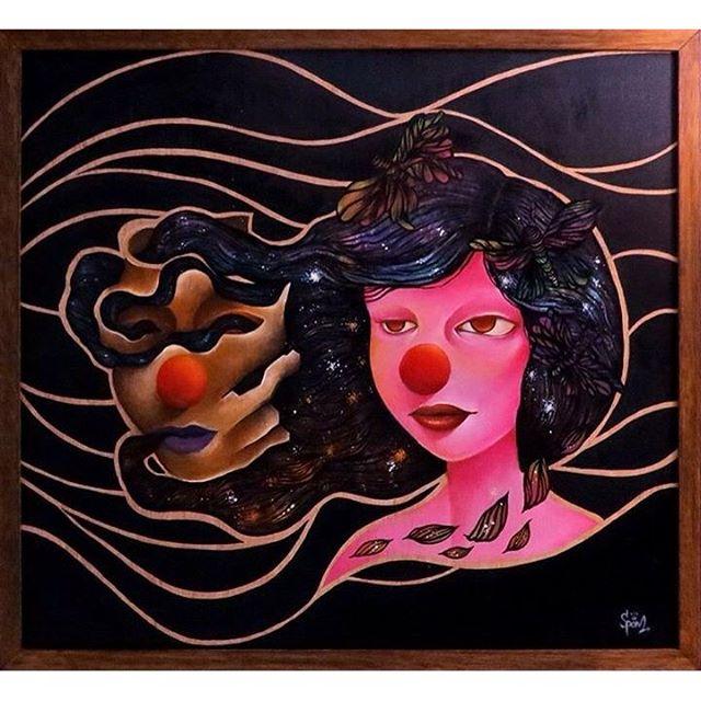 O Amor em contra-Tempo De todas as máscaras que vestimos... sobrou esta... (expo Estufa Urbana) 2016 Acrílico e pastel seco sobre madeira 50x40 Contact: viartspam@gmail.com #spam #viniciusspam #instagraffiti #artexhibition #exhibition #caçambalixo #instaart #talnts #moon #graffiti #streetartrio #streetart #graffitiworld #spray #spraymagic #creativeworld #crown #arteurbana #circus #mistyc #life #graffitiordie