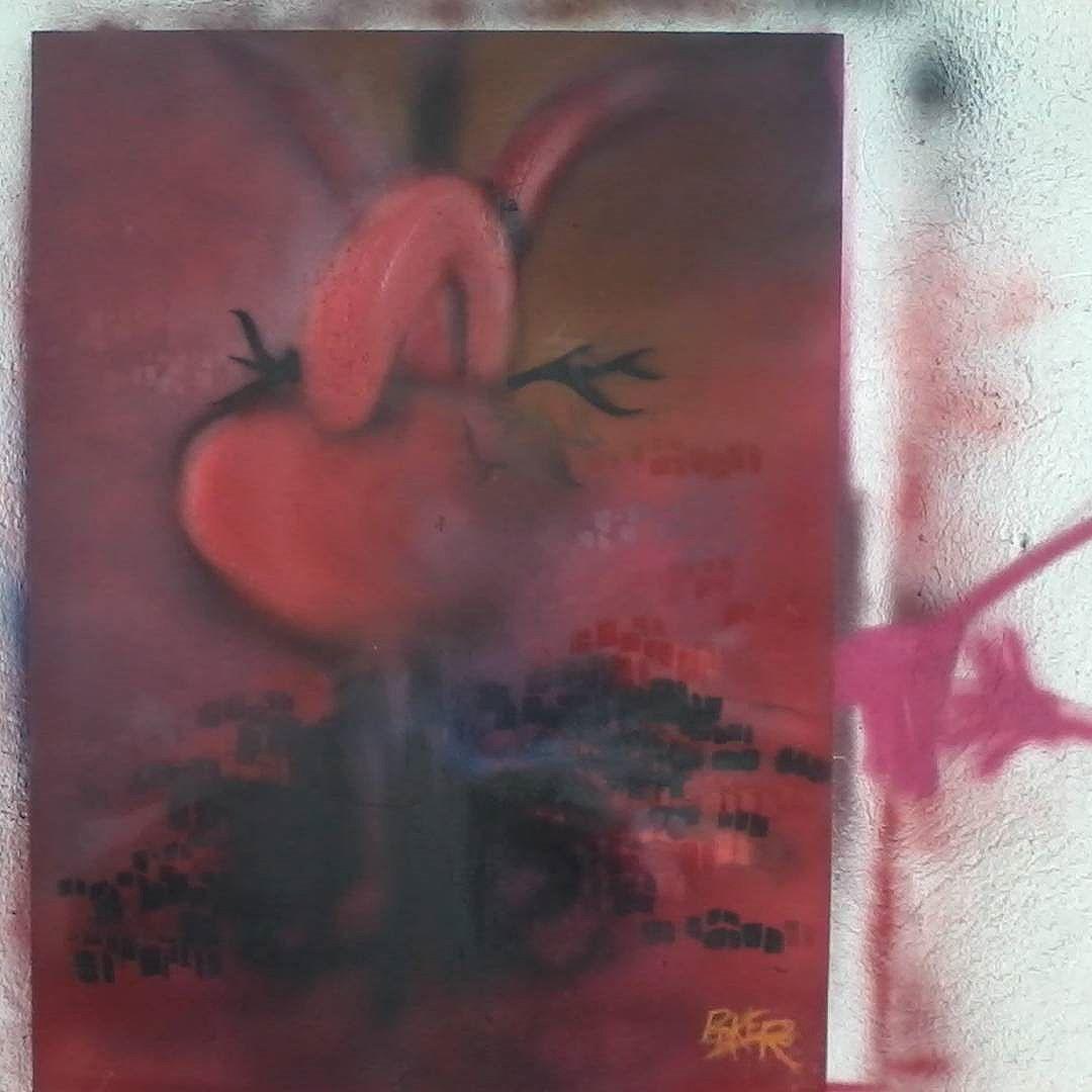 """""""Blood and Passion"""" para a Exposição da CUFA em NY. Ago/2015 #sprayoncanvas #streetartrio #graffitirj #errejota #Baker"""
