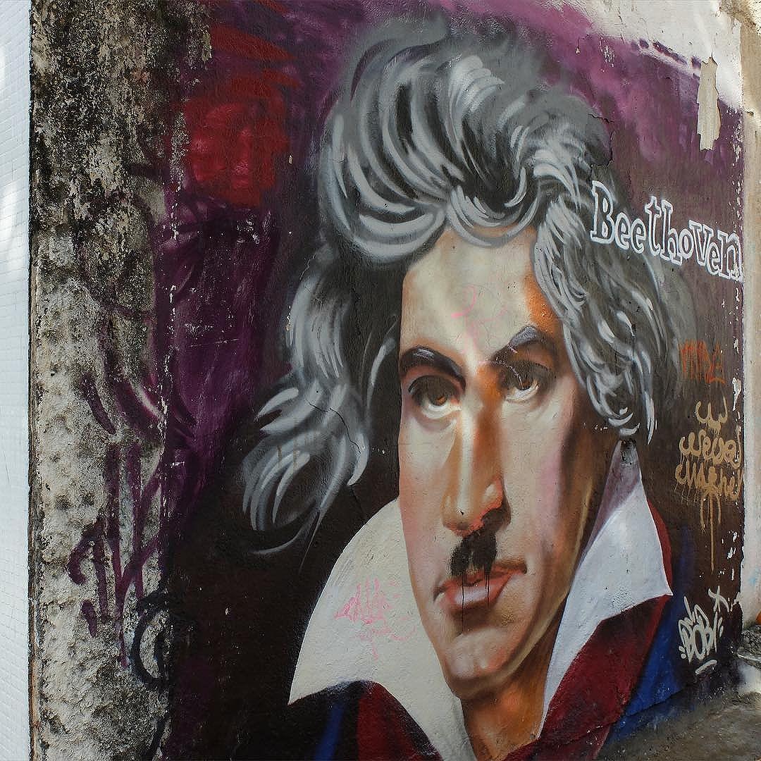 Mural by @CarlosBobi in Urca in Rio de Janeiro, Brazil. Portrait of Beethoven!