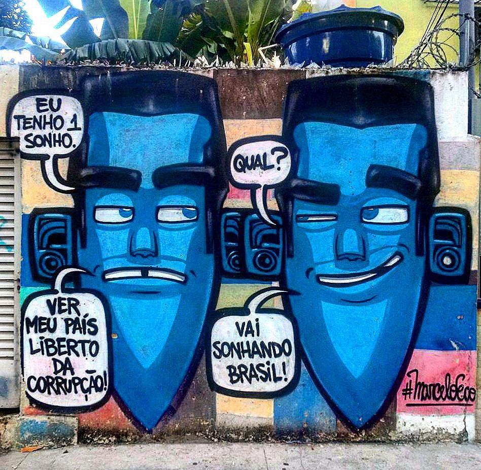 #StreetArtRio  12/05/2016, zerésimo aniversário do golpe.  Grafite na Avenida Maracanã perto da esquina com a rua Professor Eurico Rabêlo, no bairro do Maracanã.  Artista: @marceloeco (Eco)  Tirada em 13/04/2016