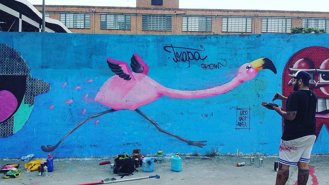Vocês estavam dormindo e a gente voltando pra casa ;) #trapacrew #flamingo #flamingos #pinkflamingo #flamenco #graffiti #grafite #graff #streetartrj #streetartrio #streetart #novaamerica #delcastilho #novaamericashopping