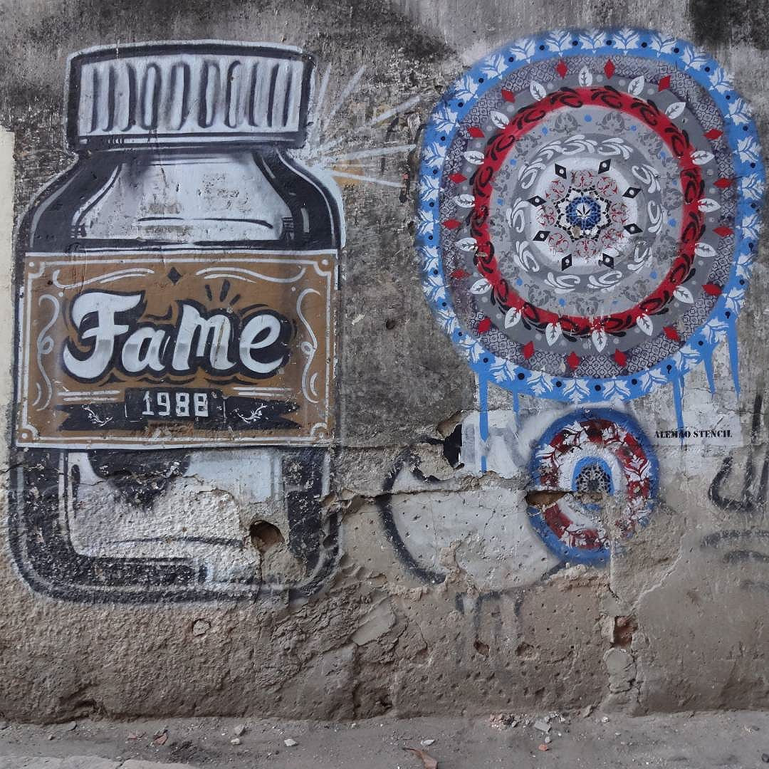 Spray paint art by @betofame and @alemao_stencil . #betofame #fameone #alemaostencil #streetartrio #graffitiart #spraypaint #stencil #stencilart #streetart #artederua
