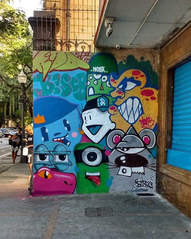 Um dos muros de hoje no mutirão de graffiti no colégio Amaro Cavalcanti no Largo do Machado