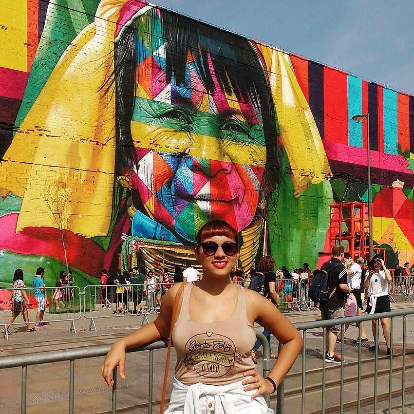 Aí quem lançou a moda da franjinha curta haha. #etnias #kobra #grafite #artrio #Rio2016 #streetartrio