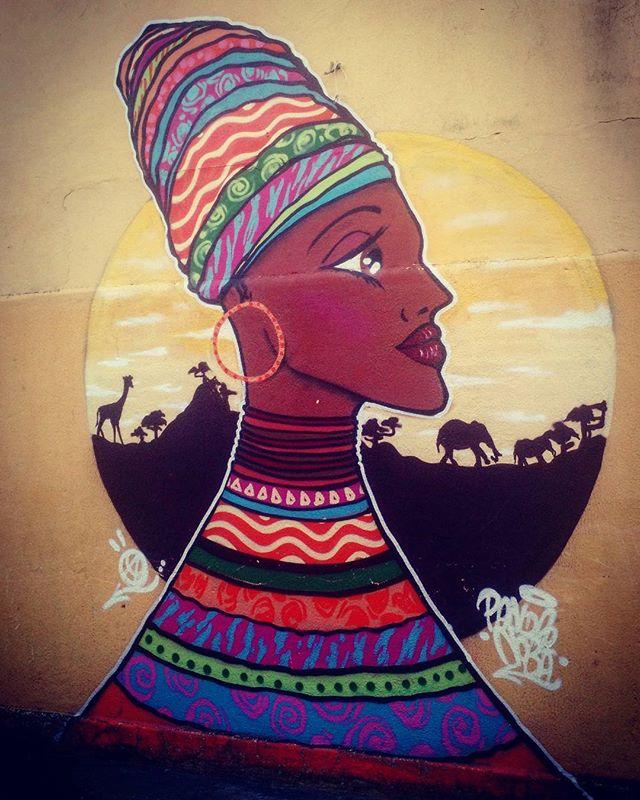 Artist: @pandronoba #streetart #arteurbana #urbanart #artederua #grafite #grafitti #StreetArtRio #streetarteverywhere #instagrafite #zonanorterj #porainoRio #pandronobã #turbante #mulhernegra #africanwoman