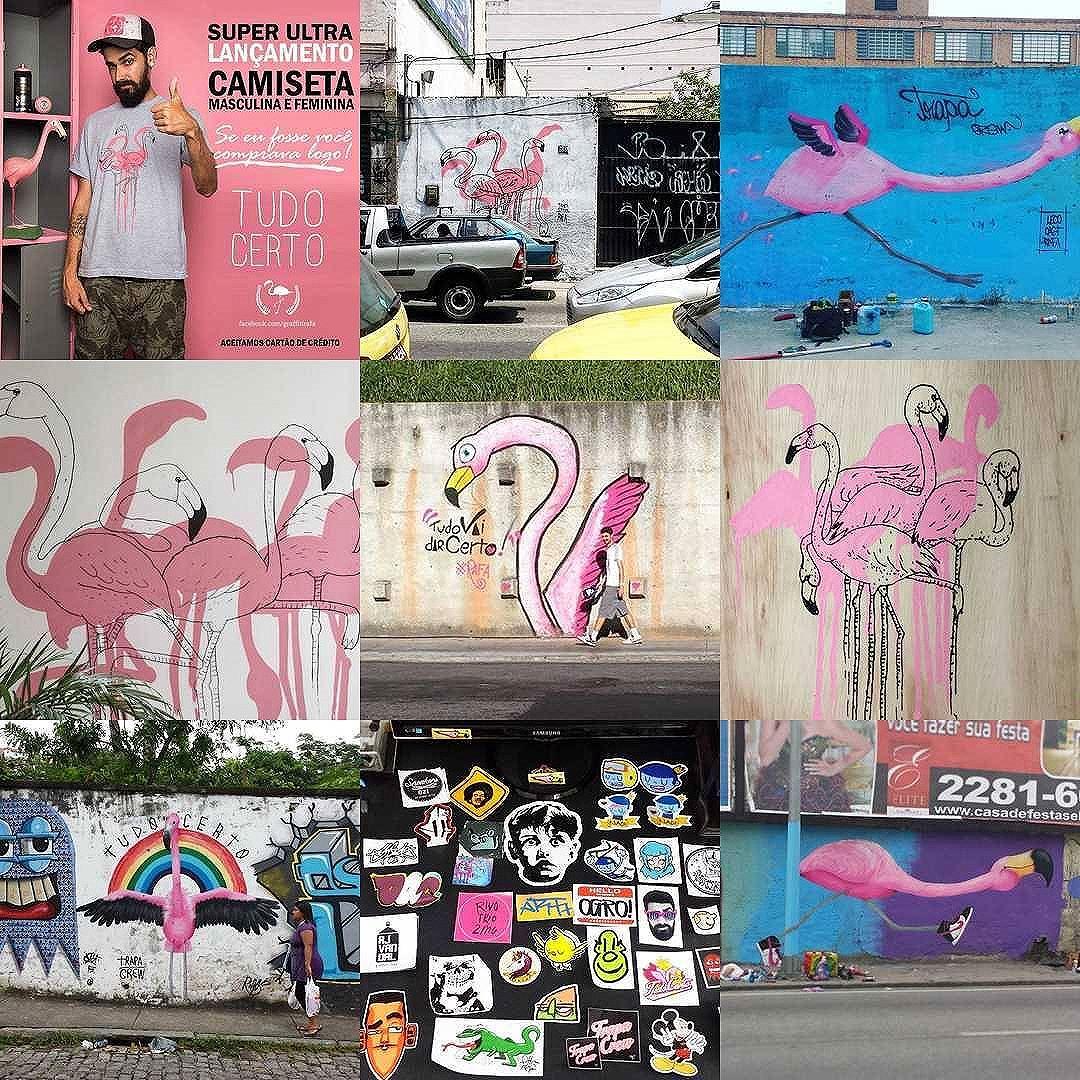 As mais curtidas de 2016 até agora. Ano de novas possibilidades :) #trapacrew #streetartrio #streetartrj #flamingo #flamingos #flamenco #oamorerosa #bestnine2016 #graffiti #grafite #graff #graffitiporn #street #colorful #wall #city #urban #spraydaily #граффити #spraycanart #sprayart #graffity #2016bestnine #streetart #rafagraffiti #rafa