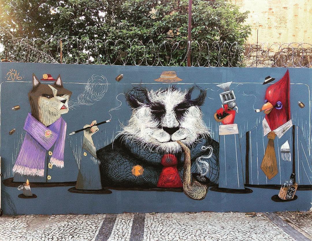 Painelzinho com o amigo @viniciusspam  Máfia dos animais!  #cazearte #streetartrio
