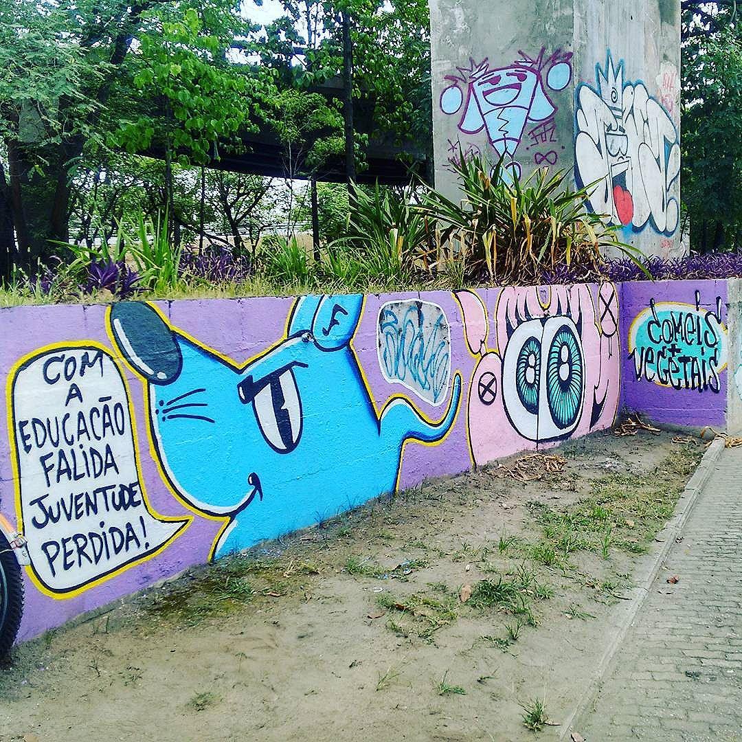 Com a educação falida juventude perdida . #poesiaperiferica #ratimblu #arte #vacamutant #vandalism #graffiti #graffitiniteroi #streetartrio #arteurbana #noucolors #streetart #galeriaurbana #mensagem #graffitiart
