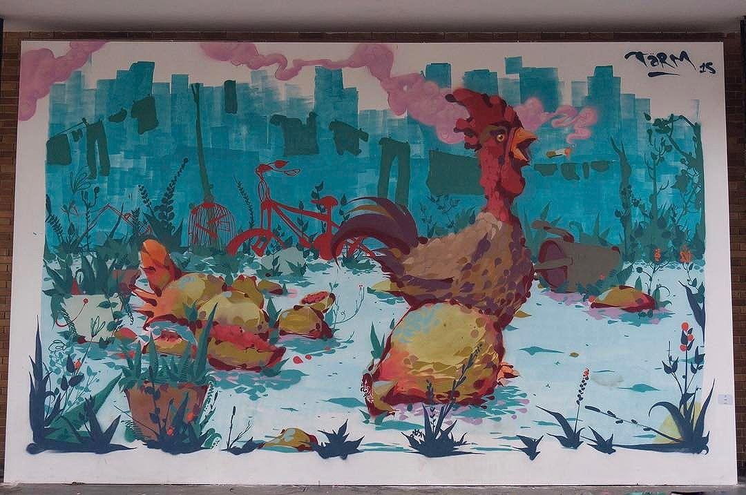 one more throwback - oct 2015 - smoking chicken #cockfight  @tarm1 at the Museu de Arte Moderna in #riodejaneiro #brasil ⠀ ⠀ #tbt #travel #travelphotography #streetart #streetartphotography #streetartrio #riostreetart #streetartbrazil #graffitibrasil #graffiti #grafittiart #murales #urbanart #art #igersbrasil #arteurbana #instagraff #rsa_graffiti #dsb_graff #instagrafite #streetarteverywhere #globalstreetart #tv_streetart #be_one_urbanart #streetartbrasil #graffitibrasil #igersbrazil #streetart_daily
