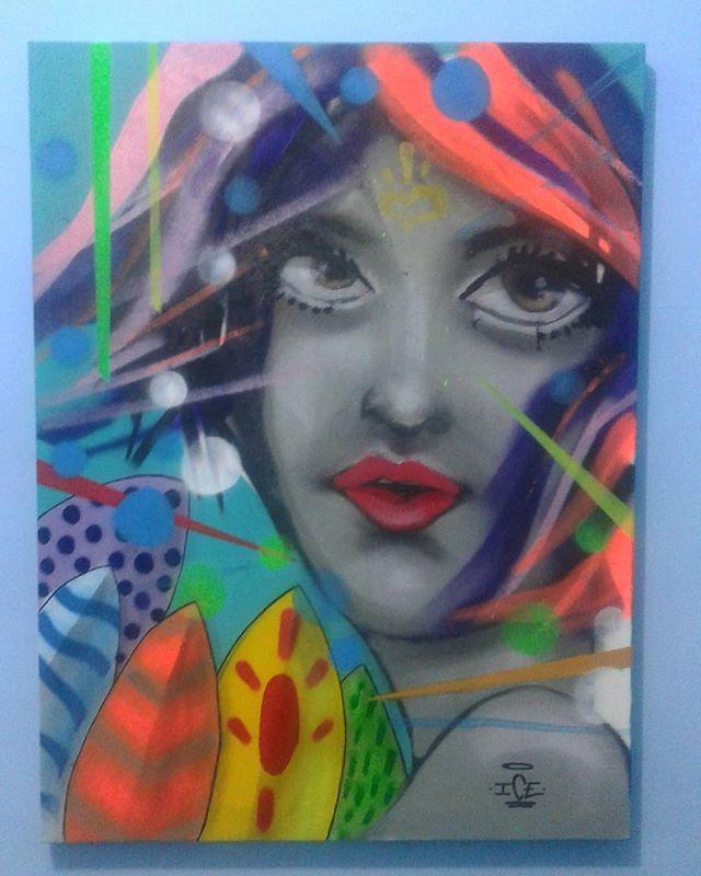 Série Prim.Vera  60x80 Técnica mista Brilha na luz negra  Disponível, contato por inbox ou leandroiceone@gmail.com  #canvas #silk #graffiti #fullcollor #girl #flower #leandroice #galery #art #streetart #streetartrio