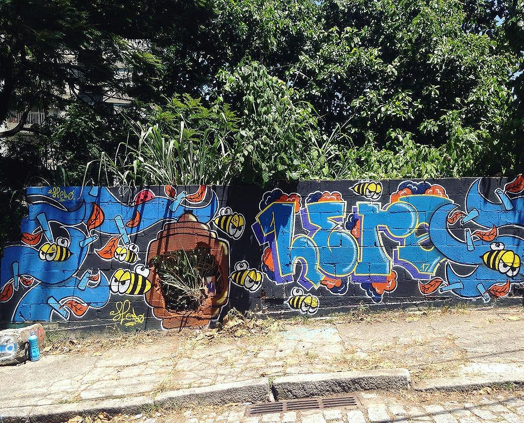 De domingo. #enxame #colmeia #abelha #graffiti #streetartrio #spraycan #azul #urbanart #arteurbana #laranjeiras #fodaseosuil