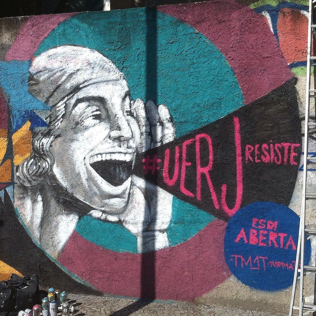 Graffiti no clássico muro da esdi! #uerjresiste #esdiaberta #rodchenko #streetartrio