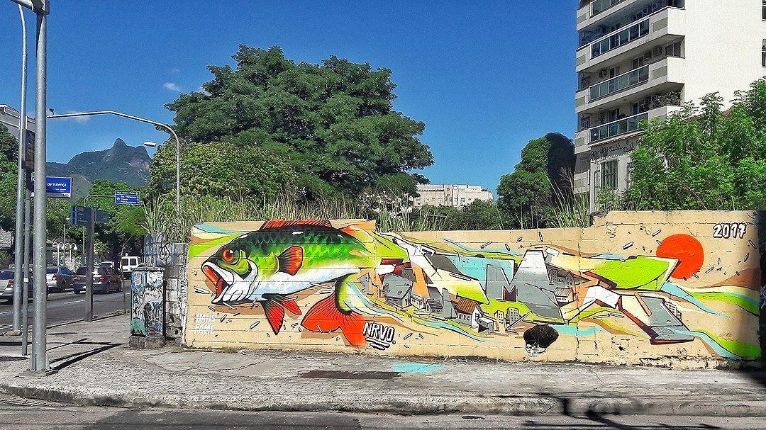 #StreetArtRio  Grafite na rua Marquês de Valença, na esquina com a avenida Heitor Beltrão, na Tijuca. Artistas: Fame (@betofame) e Hans (@raphaeltorres) NRVO Coletivo (@nrvocoletivo) Tirada em 24/08/2016 ____________________________________  Quer conhecer mais obras destes artistas e de tópicos relacionados? Explore mais em: #g021_fame #g021_hans #g021_rt #g021_nrvo