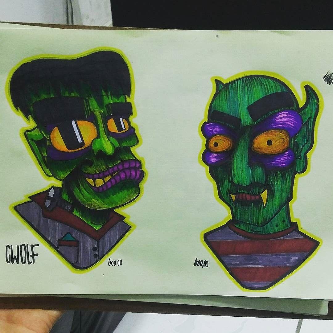 Mr Frank  e tio drac  Estudos.. #calvinwolf #wolf #vandal #streetart #streetartrio #graffiti #instagraffiti #ilustração #sketch #tattoo #newschool #cartoon