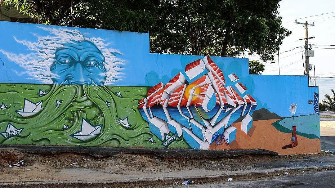Parte dos irmão @wbidu e @rinemenezes85 do painel a Baía realizado para o #MARISCARTE na Praia da Dona Luiza. #streetartrio #streetart #graffiti #arteurbana #sepetiba #classed #artistasurbanos #arte #art