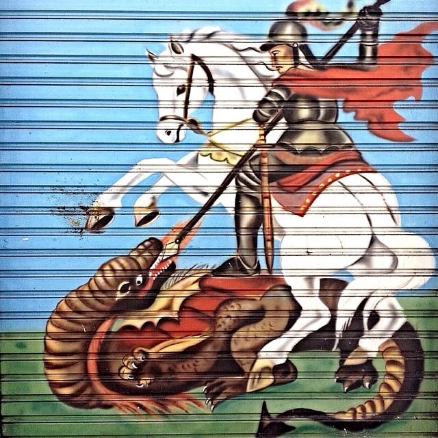 Salve Jorge!!! Valei-me santo guerreiro!! Campos Elísios - São Paulo #saojorge #saintgeorge #streetartsp #streetartsaopaulo #streetarbrazil #sampagraffiti #graffitimagazine #dopeshotbro #DSB_Graff #streetartandgraffiti #urbanart #graffiti #grafite #coolsampa #rsa_graffiti #azstreetart #azgraffiti #streetartshots #streetartuncovered