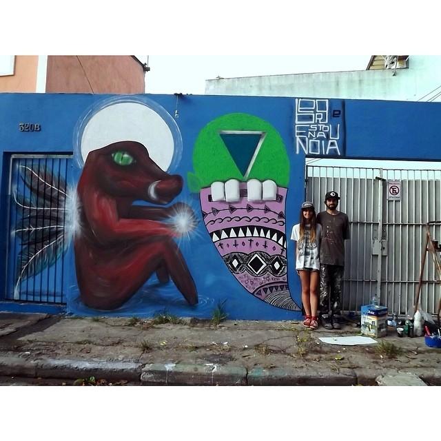 Done! Com o @obergw sempre do lado! Gratidão eterna a esse grande artista e companheiro  #estounanoia #graffitisp (ps: meu primeiro graff oficial hehe)
