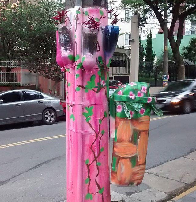 Muito amor pelas intervenções! O pouco é muito. Linda ação do @floresnocimentosp #artederua #streetartsp # #rosa #pink #muitoamor #meiguice #beleza #fofura #opoucoemuito #intervencaourbana #criatividade #arte #paiting #vilamadalena #sp #brasil #vivaaarte #chamanaarte #flores #postecolorido #poste #lixeira #amor #viva #rua #olheasruas #amudancavemdedentro #mude #ocupe #aruaedopovo