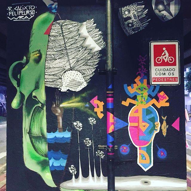 Segunda-feira de carnaval com @felipe.urso e @tomwrayart ....seguimos... #painting #StreetArtSP #quemedomarnaoenjoa #sp #sampagraffiti #grafittisp #grafittiart #Brasilsp #minhocao