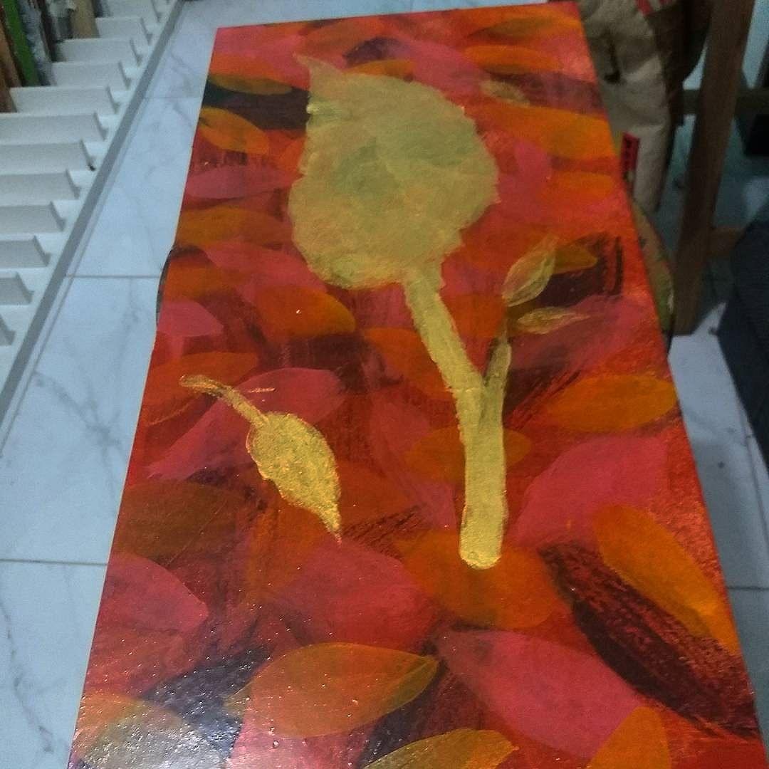 Processo. #folhas #ouro #arte #art  #madeira #cores #streetart #streetartsp #doubletap #andremogle #2016