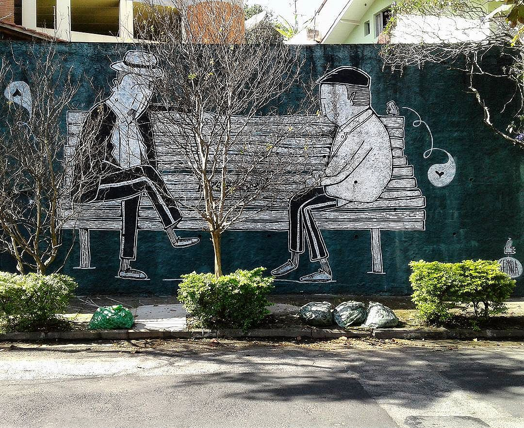 Old friends playing chess Art by @alexsenna ******************************** #streetart #graffiti #graffitiart #urbanart #graff #instagraff #streetarteverywhere #grafite #streetartsp #streetartbrazil #graffitibrazil #mural
