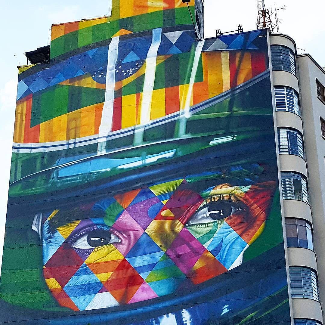 Street Art by Kobra... Close to Paulista Avenue, São Paulo, SP, Brasil... #saopaulo, #streetartsp