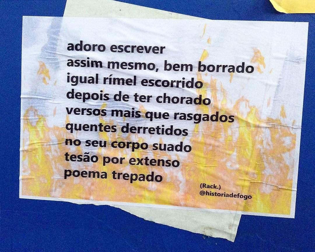 Lambendo o poema trepado   Viu um lambe meu por aí? Me marca. Vai compartilhar? Não esqueça de me citar.   #boanoite #historiadefogo #lambelambe  #artederua #urbanismo #gordofobia  #olheosmuros #urbanart #poesia  #empoderamento  #feminismo  #pelosmuros #poesiaderua  #lamblamb  #streetart #taescritoemsampa #txturbano #misturaurbana #oqueosmurosfalam  #splovers #sp4you #igerssp #streetartsp #vinarua #arteurbana #vozesdacidade #spdagaroa #nocaosdesampa