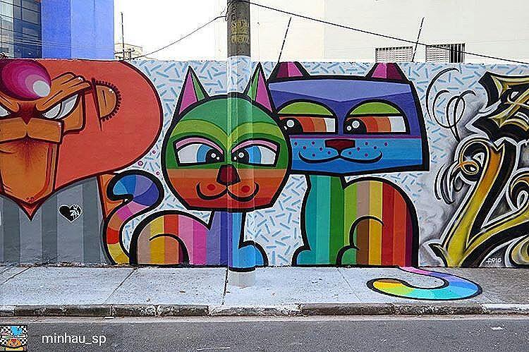 Amo esses grafites em São Paulo. #canaldogato #gatis #cats #grafitti #streetart #streetartsp