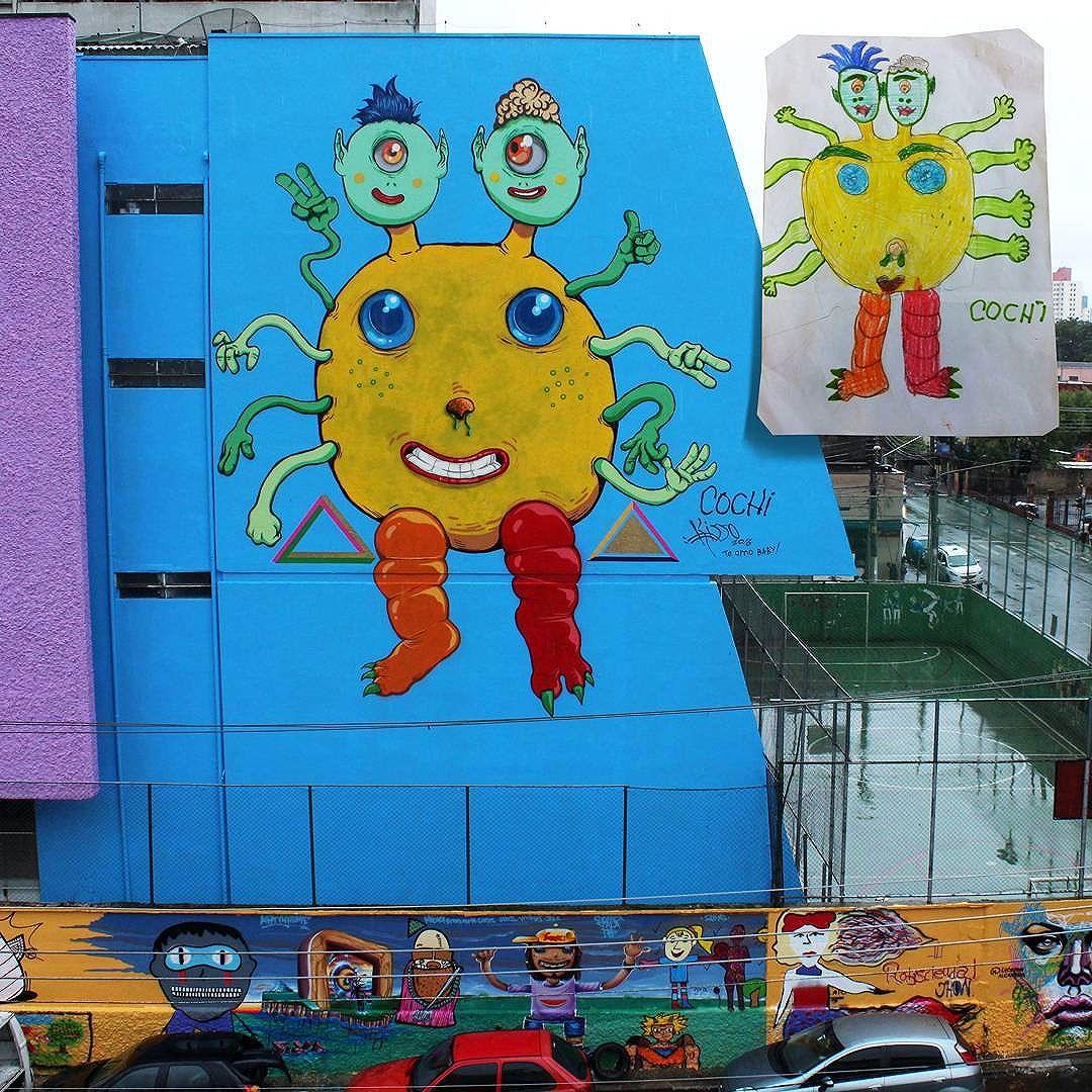 Prazer inenarrável em participar desse projeto e reproduzir o desenho das crianças nessa escala! Valeu Nayana, Rodrigo, Vitones, Akbo, Rafael, Feik, e todo mundo que somou e ajudou a alegrar o Gliça! Até a próxima! #graffitiart #graffitis #graffitiwall #graffiti #graphicdesign #grafitesp #grafite #graffitiartist #graffitiigers #graffiti_magazine #globalstreetart #streetartist #streetart #urbanart #urbanartist #wall #kisso #art #painting #graffitiporn #murals #arteurbana #arterua #mtn #streetartsp #pixo #sampagraffiti #spray