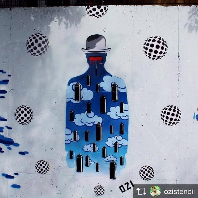 Magritte na quebrada Rolezinho legal, valeu @xchex  #ozi #ozistencil #magritte #magritteinspired #renémagritte #streetartsp #sampagraffiti #stencil #estencil #estêncil #stencialart #stencilism