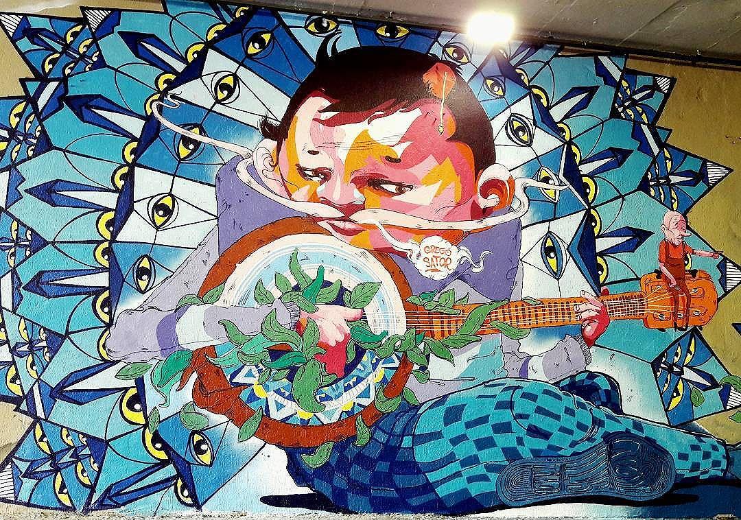 Nice wall art of Grego (@gregonebr) & Sator (@sator_art) part of the project Tunel Noite Ilustrada in São Paulo  #grego #sator #sambadograffiti #be_one_urbanart #graffiti #graffiti_clicks #grafite #graf #streetart #streetartsp #streetphoto #streetarteverywhere #streetartphotography #spraypaint #urbanwall #urbanart #wallart #saopaulo #brasil #rsa_graffiti #braznu #sampa #tv_streetart #saopaulocity #tv_sa_simplicity_graff #streetartofficial #be_one_urbanart #brarts #tunelnoiteilustrada