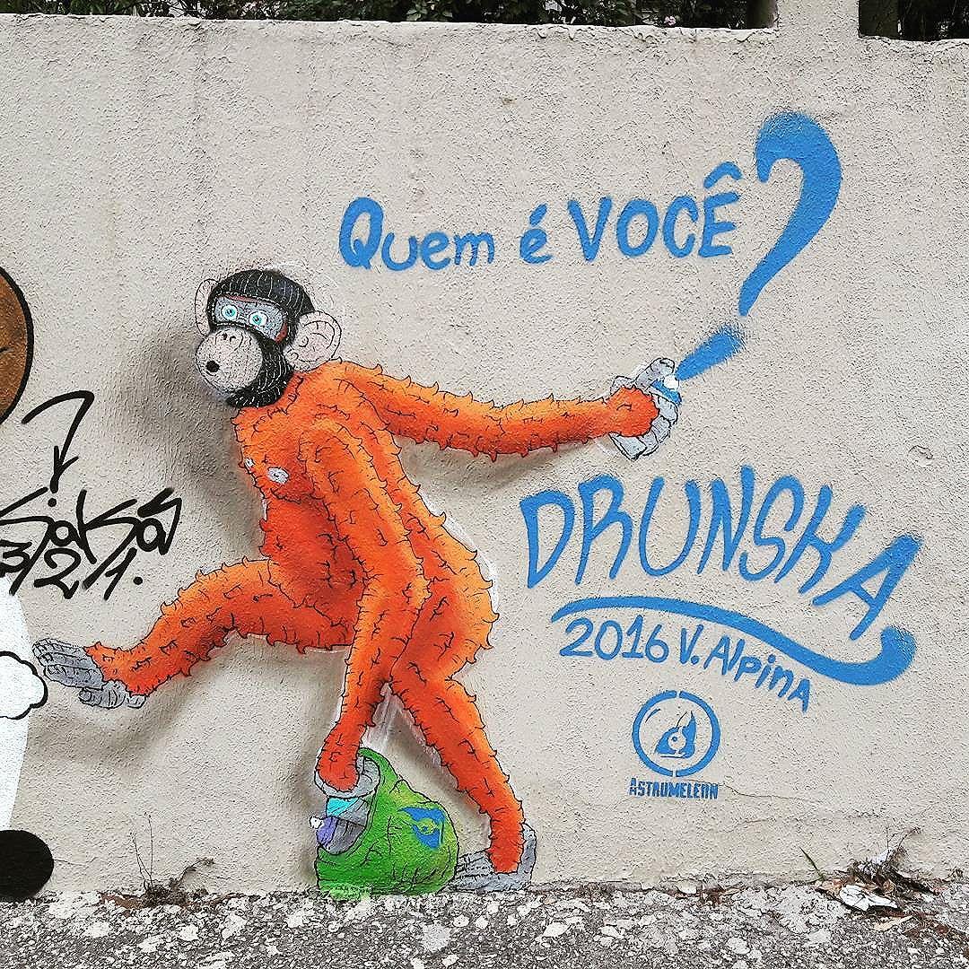 Wall art of Drunska (@drunska / @astromeleon) part of the project Tunel Noite Ilustrada in São Paulo  #drunska #astromeleon #sambadograffiti #be_one_urbanart #graffiti #graffiti_clicks #grafite #graf #streetart #streetartsp #streetphoto #streetarteverywhere #streetartphotography #spraypaint #urbanwall #urbanart #wallart #saopaulo #brasil #rsa_graffiti #braznu #sampa #tv_streetart #saopaulocity #tv_sa_simplicity_graff #streetartofficial #be_one_urbanart #brarts #tunelnoiteilustrada #monkey