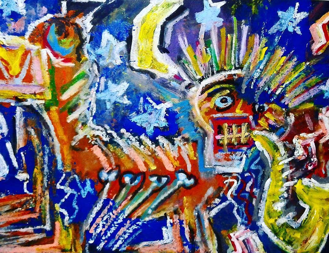 """Midnight Round"" by #reolif - #basquiatinspired #acrylicpainting #oilpastel #spray #brazilianart #canvas #neoexpressionism  #neoexpressionismo #streetartsp #streetart #primitivism #mixedmedia #pintura #painting #arteurbano #arte #art #urbanart #graffiti #artecontemporanea #talnts #digitalpainting #artecontemporanea #contemporaryart #muralism #artbasel #artoftheday #colorgin #workinprogress"