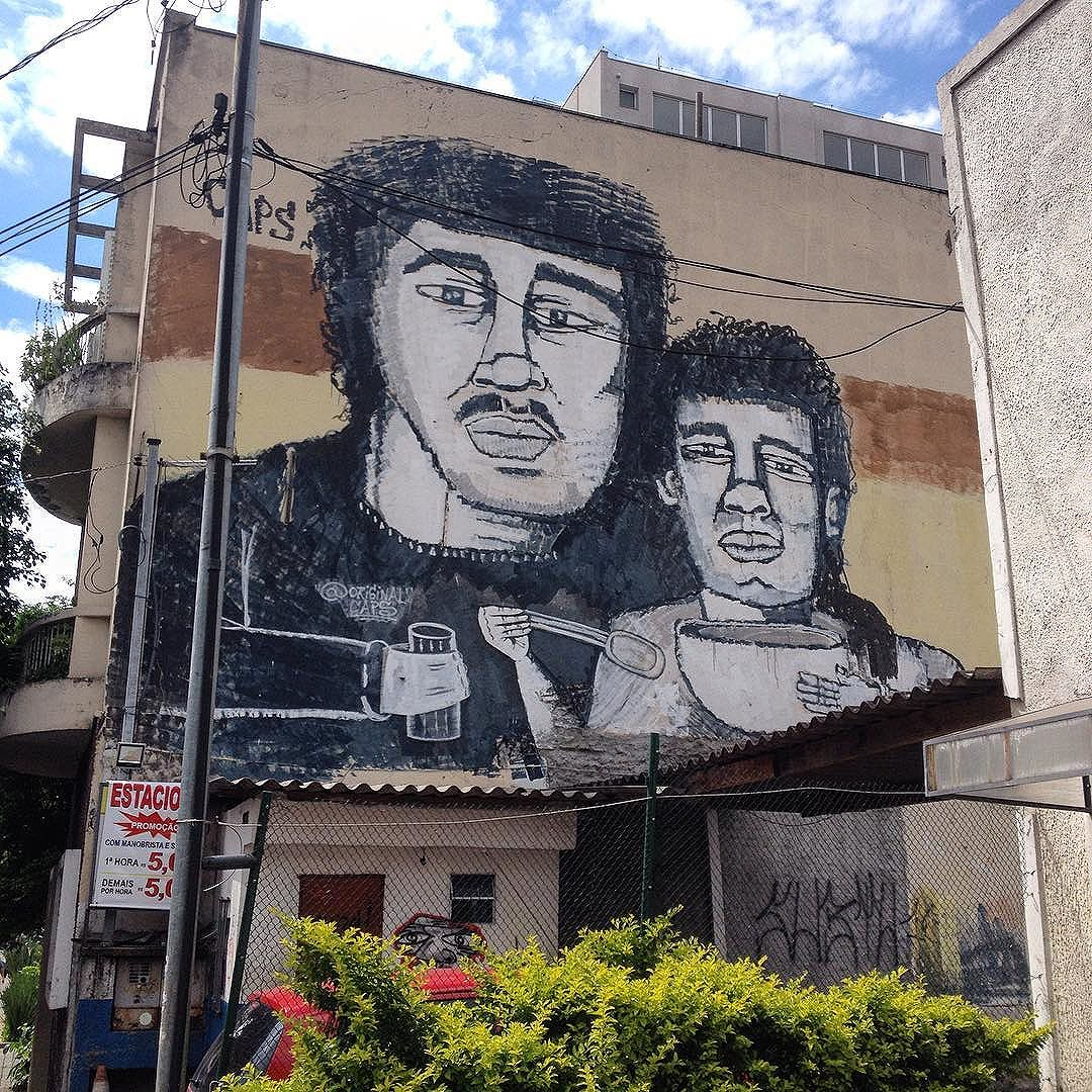Big wall by @originalcaps #caps #roller #tv_streetart #streetartsp #dsb_graff #sampagraffiti #cidadecinza #graffiti #graff #paint #saopaulo #vilamadalena #arturbano #brazil #jacktwo